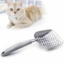 Cat Litter Scoop Sifter Metal with Long Holder for Cat Owners Grey