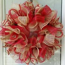 EVERYDAY ALL OCCASION JUTE DECO MESH WREATH RED AND NATURAL