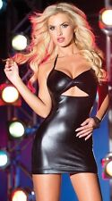Black new sexy wet look PVC clubwear, mini dress one size fits 8/10/12