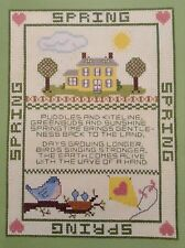 Four Seasons-Spring counted cross stitch pattern leaflet, fabric & floss lot