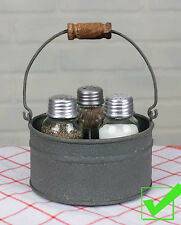 Primitive Industrial Galvanized Bucket MASON Jar Salt Pepper & Tooth pick Caddy