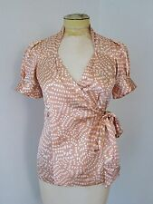 BCBG MAX AZRIA silky puff sleeve wrap blouse top tan white polka dots XS