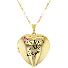 Photo Locket Heart Daddy's Little Angel Girls Pendant Necklace 16""
