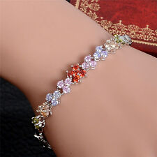 New Colorful Cubic Zirconia Bracelet Fashion Noble Silver Fine Jewelry