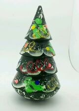 Christmas Tree Roly Poly Russian Hand Carved  Hand Painted  no Nesting DOLL