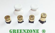 Greenzone ® Xbox One 1 Controller Brass Bullet Buttons + White Thumbs Mod Kit