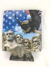 Mount Rushmore Can Coozie Bald Eagle American Flag Patriotic Beer Cooler