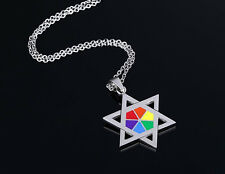 Unisex Gay Pride Rainbow Colour Star of David Pendant Necklace DogTag