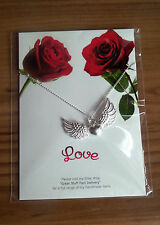 "handmade HEART & WINGS LOVE NECKLACE 19"" silver pl chain and card * 2in1 GIFT"