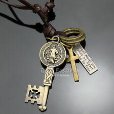 Retro Gold & Black Leather Skeleton Key Benedict Medal Cross Pendant Necklace