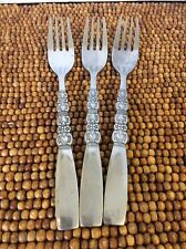 """Northland REBECCA Oneida Stainless Floral Scroll Black Acc 3 DINNER FORKS 7 3/8"""""""