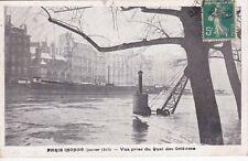 PARIS inondations de janvier 1910 vue prise du quai des orfèvres timbrée