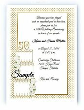50 Personalized Custom Golden 50th Anniversary Wedding Invitations Cards