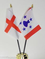England & France French Polynesia Austral Islands Friendship Table Flag Set