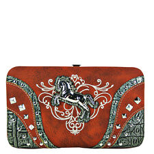 RED STITCHED TOOLED STUDDED HORSE LOOK FLAT THICK WALLET WESTERN COUNTRY CLASP