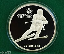 1985 Canada Calgary Olympics $20 Downhill Skiing Proof finish - A1 condition