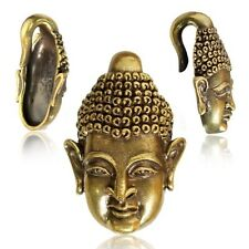 PAIR ORNATE 2g (6mm) ANGKOR BUDDHA BRASS EAR WEIGHTS PLUGS TUNNELS STRETCH GAUGE