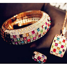 Luxury Rhinestone Crystal Finger Ring Engagement Colourful Jewelry Gift Womens