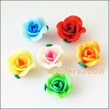 10 New Charms Handmade Polymer Fimo Clay Flower Spacer Beads Mixed 15mm