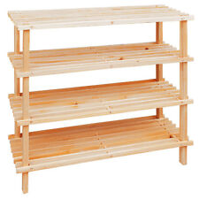 4 Tier Shoe Rack Wooden Slatted Shelf Rack Organizer Storage Tidy Stand New