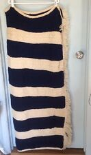 Vtg Hand-Knit Afghan Throw w/Fringe Cable Stitch Cream Navy Fisherman Nautical