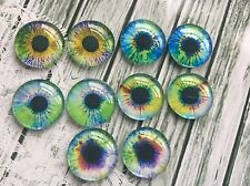 20mm Round Human Eyes Glass Cabochons jewellery making Set of 5 pairs blue green