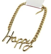Gold tone word Happy necklace with solid chain