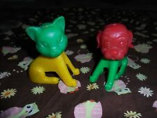 "Vintage cat dog puppy kitten plastic retro bobble head toys 3.5"" primary colors"
