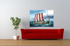 PAINTING  ANCIENT TRANSPORT VIKING LONGBOAT GIANT ART PRINT POSTER NOR0810