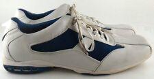GBX Elite Mens 13 M Med Medium White Blue Shoes Leather Nylon Square Toe