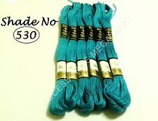 6 Blue Nile Solid Anchor Cross Stitch Cotton Embroidery Thread Floss Skeins - 8m