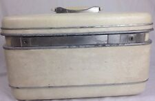 VINTAGE Samsonite Cosmetic/Make Up Train Case with mirror & keys Ivory off white