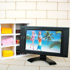 Dollhouse Furniture Television Miniature LCD TV Set For Barbie Living Room Decor