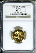 CHINA  PANDA 1982  NGC MS 69    GOLD 1/4 OZ