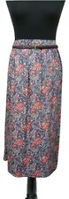 M&S Skirt Size 22 w/Belt Blue w/Red Floral  NEW w/TAG Boho Casual Summer Holiday
