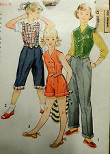 Vtg 50s Girl's Pants Shorts Weskit Pedal Pushers Simplicity 4164 Breast 26 S8