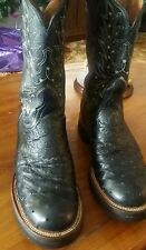 WOMENS LUCCHESE 2000 Black FULL QUILL OSTRICH COWGIRL MOTORCYCLE BOOTS 8 B Nice