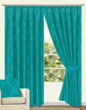 Premium Quality Flock Fully Lined Pair of Curtain Leamengton 4 colour 12 sizes