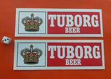 TUBORG BEER PAIR OF VINTAGE STYLE STICKERS 200MM X 60MM