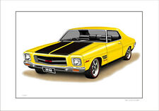71 74 HOLDEN HQ 308  GTS MONARO COUPE  LIMITED EDITION CAR PRINT  DRAWING