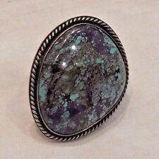 Large Vintage Native American Sterling Silver & Turquiose Ring