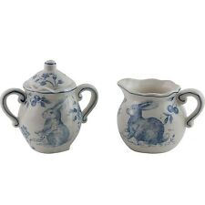Maxcera Blue White Toile Easter Bunny Rabbit Cream & Sugar Set w/ Lid