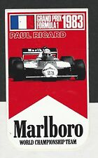 ORIGINAL MARLBORO TEAM ALFA ROMEO PAUL RICARD GP 1983 PERIOD STICKER AUTOCOLLANT
