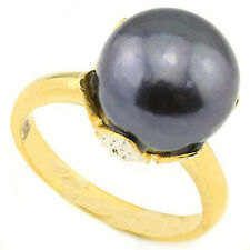 8.07 CTW GENUINE DIAMOND & BLACK PEARL PLATINUM OVER 0.925 STERLING SILVER RING