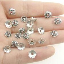 17929*200PCS Silver Vintage Mini Flower 7mm Beads Cap Hole 1.5mm Alloy Antique