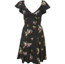 TOPSHOP CELIA BIRTWELL Black Floral Daisy Sprig CrossBack Vtg Summer Tea Dress 8