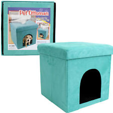 "Folding Cube Pet Ottoman Seat Footstool Storage Box + Lid 15"" Suede Turquoise"