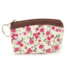 Women Pastoral Floral Canvas Card Makeup Coin Key Bag Wallet Purse Pouch AU21