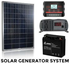 Solar Generator Complete System - 100W Panel - 1000W Inverter - 12V Battery NEW