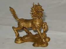 "ANTIQUE CHINA SOLID BRASS FENGSHUI GUARDIAN 2.75"" DRAGON FOO DOG FIGURINE STATUE"